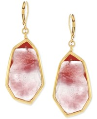 Vince Camuto Rose Gold Tone Pink Stone Drop Earrings