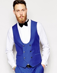 Noose And Monkey Double Breasted Waistcoat In Skinny Fit Cobaltblue