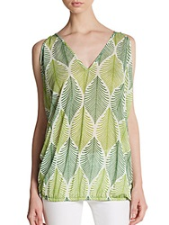 Sweet Pea Leaf Print Sleeveless Top Foliage