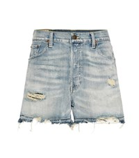 Polo Ralph Lauren Distressed Denim Shorts Blue