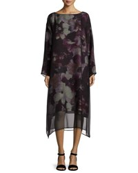 Eskandar Printed A Line Dress W Chiffon Overlay Purple