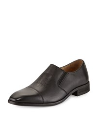 Neiman Marcus Genoa Leather Cap Toe Loafer Black