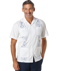 Cubavera Four Pocket Embroidered Floral Shirt Bright White