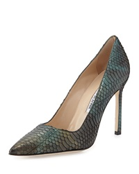 Manolo Blahnik Bb 105Mm Iridescent Watersnake Pump Blue Green