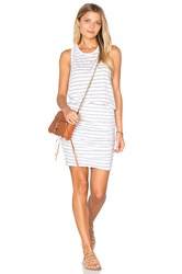 Sundry Striped Ruched Tank Dress White