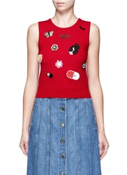 Alice Olivia 'Igby' Embellished Sleeveless Knit Top Red