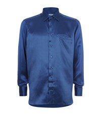 Zilli Silk Front Square Print Shirt Male Blue
