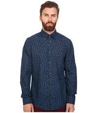 Ben Sherman Long Sleeve Classic Paisley Print Woven Vivid Blue Men's Clothing