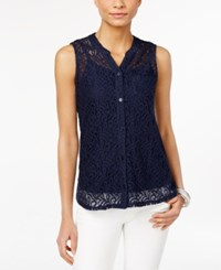 Styleandco. Style And Co. Petite Lace Button Front Blouse Only At Macy's Industrial Blue