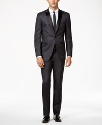 Calvin Klein Grey With Black Peak Lapel Slim Fit Tuxedo