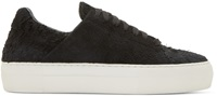 Helmut Lang Black Distressed Suede Low Top Sneakers