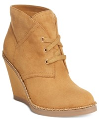 Ziginy Zigi Soho Karline Lace Up Wedge Booties Women's Shoes Dark Caramel