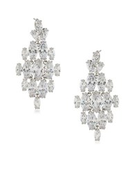 Carolee Cubic Zirconia Studded Statement Chandelier Earrings White