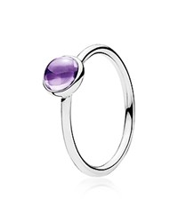 Pandora Design Pandora Ring Sterling Silver And Crystal Purple Poetic Droplet