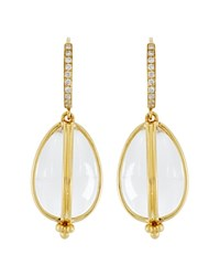 Temple St. Clair 18K Yellow Gold Classic Amulet Diamond Pave Earrings White Gold