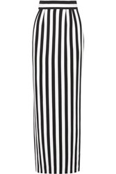 Dolce And Gabbana Striped Crepe Maxi Skirt Black