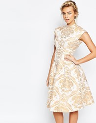 Chi Chi London High Neck Structured Skater Dress In Baroque Print Cream