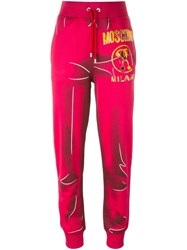 Moschino Trompe L'oeil Logo Trackpants Pink And Purple