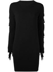 Maison Martin Margiela Mm6 Fringe Wool Dress Black