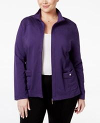Karen Scott Plus Size Quilted Trim Lounge Jacket Only At Macy's Cassis