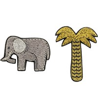 The Conran Shop Macon And Lesquoy Embroidered Elephant And Palm Tree Brooches Gold
