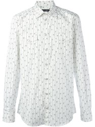 Dolce And Gabbana Striped Floral Shirt White