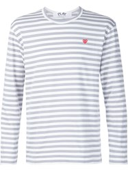 Comme Des Gara Ons Play Embroidered Heart Striped T Shirt Grey