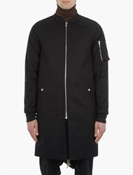 Rick Owens Black Longline Quilted Flight Jacket