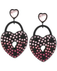 Betsey Johnson Black Tone Pave Crystal Heart Drop Earrings