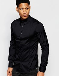 Armani Jeans Stretch Shirt With Long Sleeves Slim Fit Black