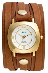 La Mer 'Classic' Leather Wrap Bracelet Watch 35Mm X 33Mm Brown Gold