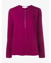 Stella Mccartney Long Sleeve Knit With Front Zip Raspberry Raspberry Pink