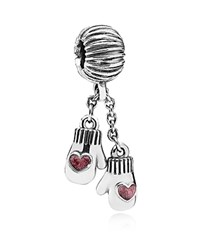 Pandora Design Pandora Dangle Charm Sterling Silver And Enamel Winter Mittens Moments Collection Silver Red