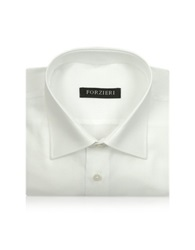 Forzieri Marcus Line Solid White Oxford Cotton Dress Shirt