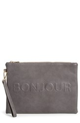 Sole Society 'Justine Conversation' Oversize Clutch Grey Charcoal