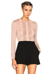 Red Valentino Shear Cardigan Sweater In Pink Neutrals Pink Neutrals