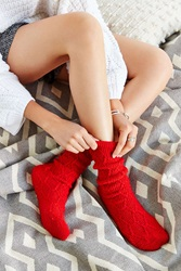 Urban Outfitters Braided Diamond Boot Sock Red