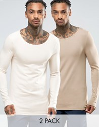 Asos Extreme Muscle Long Sleeve T Shirt With Boat Neck 2 Pack Multi