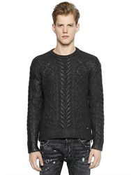 Dsquared Coated Wool Blend Cable Knit Sweater
