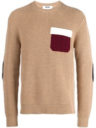 Msgm Contrast Pocket Jumper Nude And Neutrals