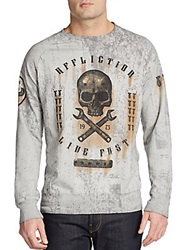 Affliction On The Tracks Long Sleeve Pullover White Grey