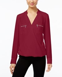 Inc International Concepts Zip Pocket Surplice Blouse Only At Macy's Glazed Berry