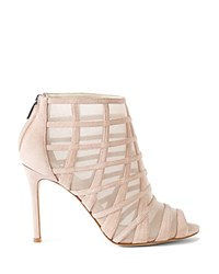 Karen Millen Suede And Mesh Caged Peep Toe Booties Nude
