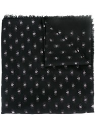 Valentino Star Embroidered Scarf Black