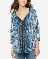 A Pea In The Pod Maternity Printed Blouse Border Print