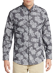 Report Collection Paisley Cotton Shirt Grey