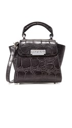 Zac Posen Croc Embossed Mini Cross Body Bag Graphite