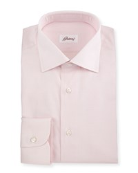 Brioni Jacquard Tonal Plaid Woven Dress Shirt Pink Women's Size 17.5