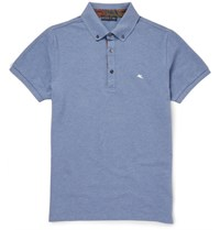 Etro Pailey Trimmed Cotton Pique Polo Hirt Blue