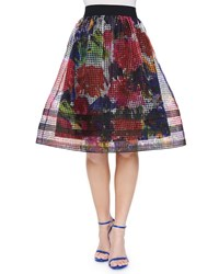 Phoebe Couture Midi Floral Print Organza Skirt Multi